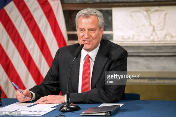 Mayor Bill De Blasio speaks during a video press conference on the city's response to the coronavirus outbreak held at City Hall on March 19, 2020 in...