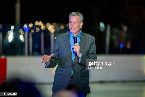 Mayor Bill de Blasio speaks during the opening night performance of Influences and BAM's spring 2021 season at LeFrak Center at Lakeside on April 06,...