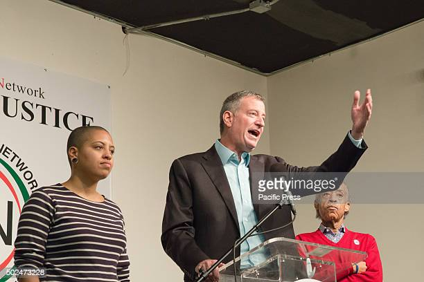 Mayor Bill de Blasio speaks to the attendees of the NAN holiday meal. New York City Mayor Bill de Blasio and his daughter Chiara joined Reverend Al...