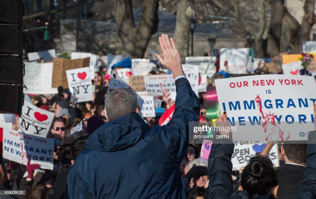 US-TRUMP-PROTEST-IMMIGRATION-POLITICS-MIGRATION-DEMONSTRATION-NE : News Photo
