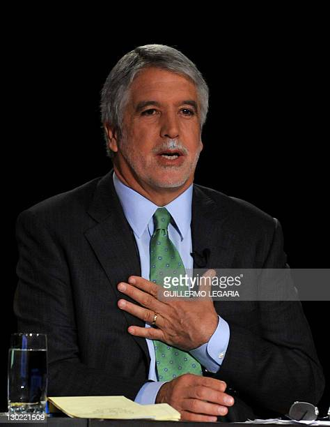 Mayor candidate for Bogota Enrique Peñalosa speaks during a TV debate with the four candidates for mayor of Bogota who lead the voting intention...