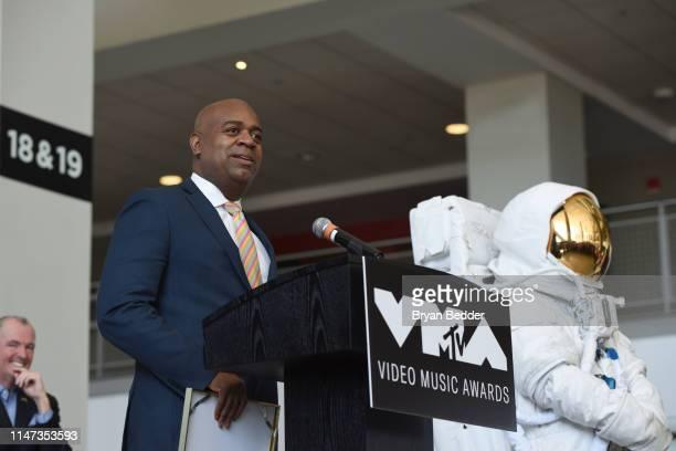 "Mayor, City of Newark Hon. Ras Baraka speaks during MTV ""VMAs"" Press Conference at Prudential Center Plaza on May 06, 2019 in Newark, New Jersey."