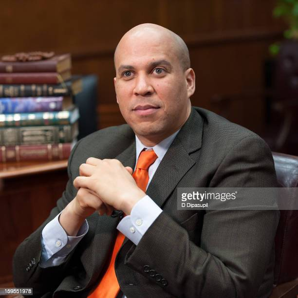 Mayor Cory Booker visits 'Extra' at Newark City Hall on January 15 2013 in Newark New Jersey