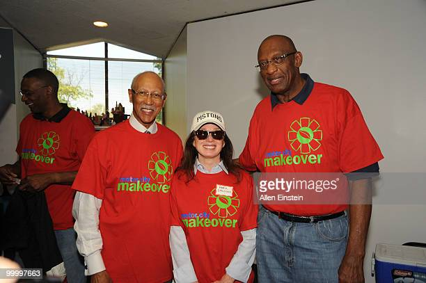 Mayor Dave Bing Mayor of Detroit and NBA Legend Mrs Karen Davidson Detroit Pistons Owner and Bob Lanier NBA Legend pose before the start of the...