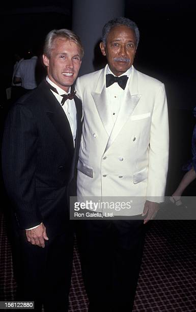 Mayor David Dinkins and athlete Bart Conner attending 15th Annual Women in Sports Awards Dinner on August 26, 1991 at the Marriott Marquis Hotel in...