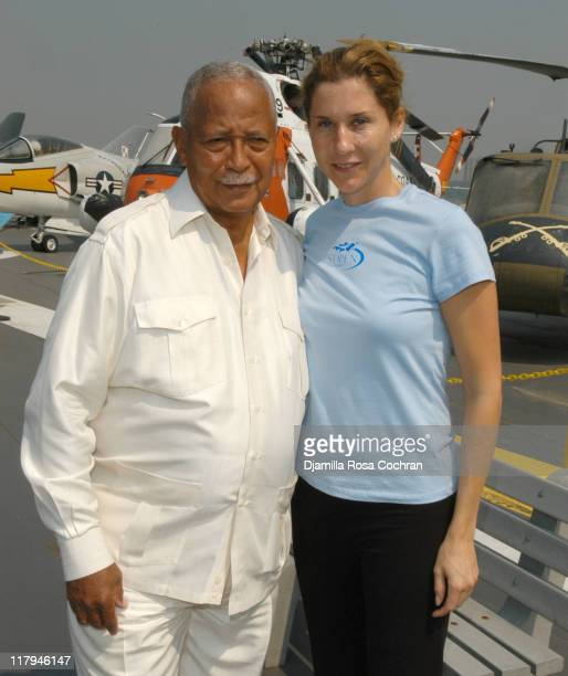 Mayor David Dinkins and Monica Seles during Monica Seles and Mary Joe Fernandez Join NYC Kids for the Debut of Blue Tennis Court and Tennis Tips on...