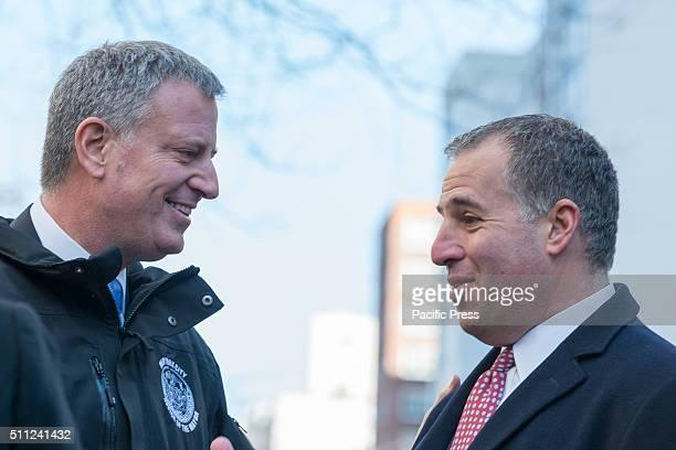 Mayor de Blasio and Scott Goldsmith speak before the start of the press conference Mayor Bill de Blasio announced the launch of the LinkNYC public...