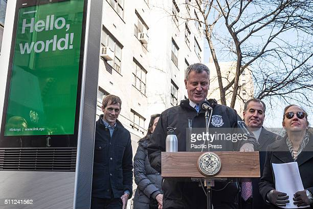 Mayor de Blasio speaks at the press conference next to the first of the kiosks in its beta form Mayor Bill de Blasio announced the launch of the...