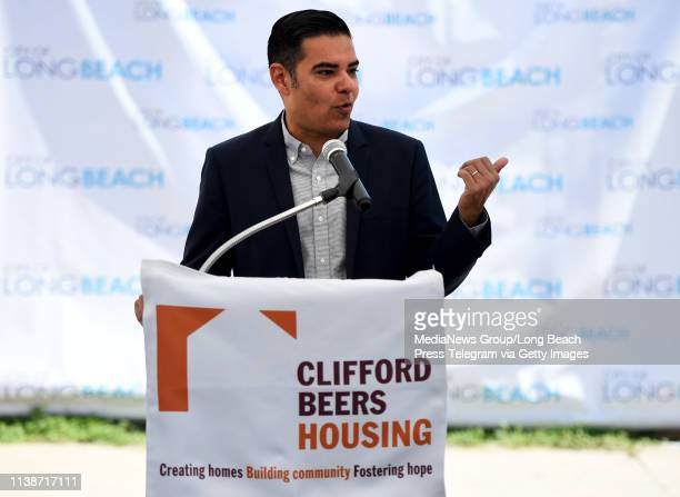 Mayor Dr Robert Garcia speaks as the City of Long Beach and its nonprofit affiliate the Long Beach Community Investment Company joined Clifford Beers...