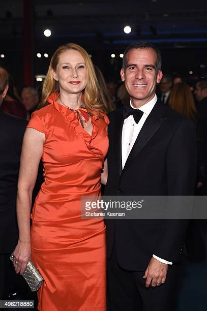 Mayor Eric Garcetti and Amy Wakeland attend LACMA 2015 ArtFilm Gala Honoring James Turrell and Alejandro G Iñárritu Presented by Gucci at LACMA on...