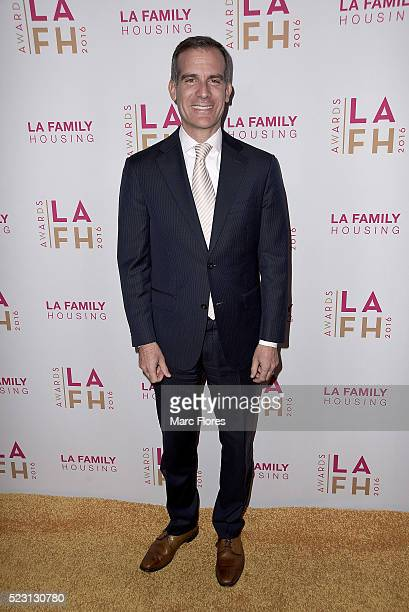 Mayor Eric Garcetti arrives at LA Family Housing's Annual Awards 2016 at The Lot on April 21 2016 in West Hollywood California