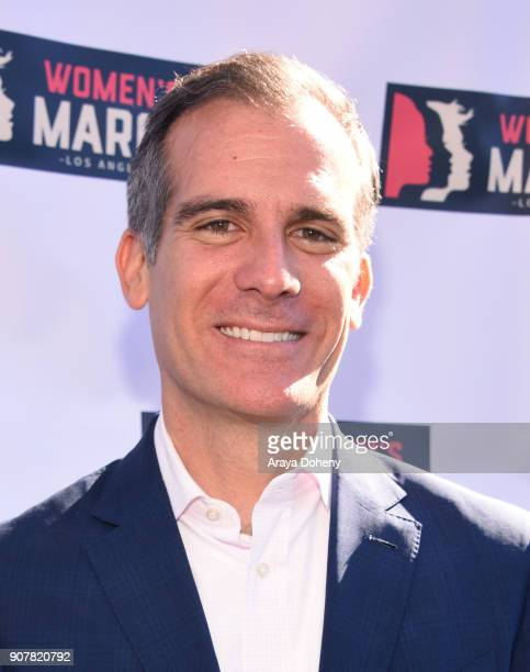 Mayor Eric Garcetti at 2018 Women's March Los Angeles at Pershing Square on January 20 2018 in Los Angeles California