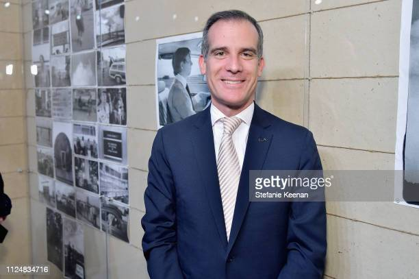 Mayor Eric Garcetti attends Hauser Wirth Los Angeles Opening of Annie Leibovitz and Piero Manzoni and Musical Performance by Patti Smith at Hauser...