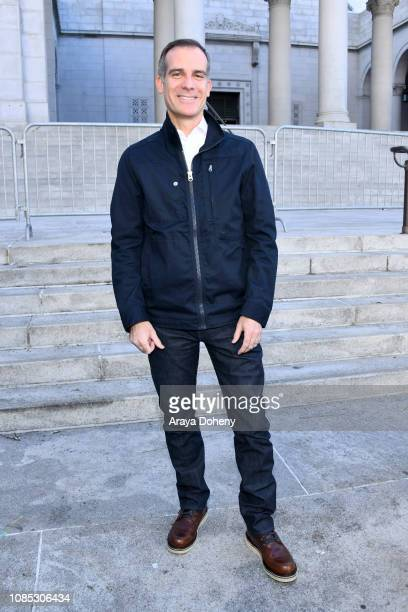 Mayor Eric Garcetti attends the 2019 Women's March Los Angeles on January 19 2019 in Los Angeles California