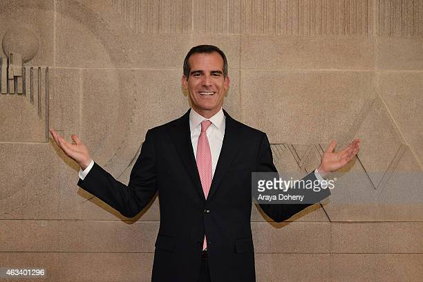 Mayor Eric Garcetti attends the ribboncutting ceremony for the reopening of The Frank Lloyd Wright Hollyhock House on February 13 2015 in Los Angeles...