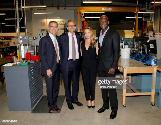 Mayor Eric Garcetti Matt Petersen Alicia Silverstone and Peter Mensah attend the Los Angeles Cleantech Incubator celebration of new CEO Matt Petersen...