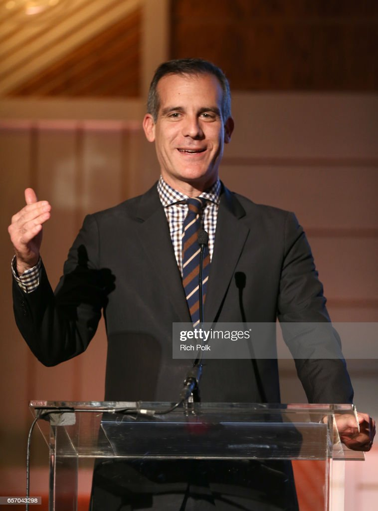 Mayor Eric Garcetti speaks onstage during the EMA IMPACT Summit hosted by the Environmental Media Association presented by Toyota Mirai and Calvert Research and Management at Montage Beverly Hills on March 23, 2017 in Beverly Hills, California.
