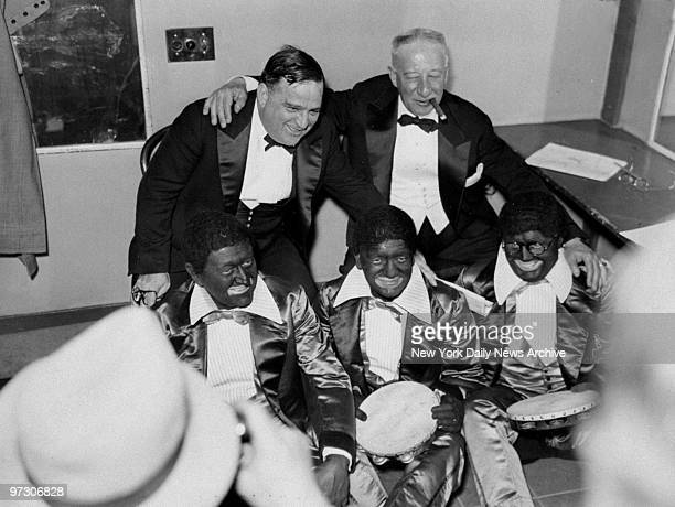 Mayor Fiorello LaGuardia and Alfred Smith with Judge James E Wallace Justice Ferdinand Pecora and Chief Justice James E McDonald at Elks Charity Fund...