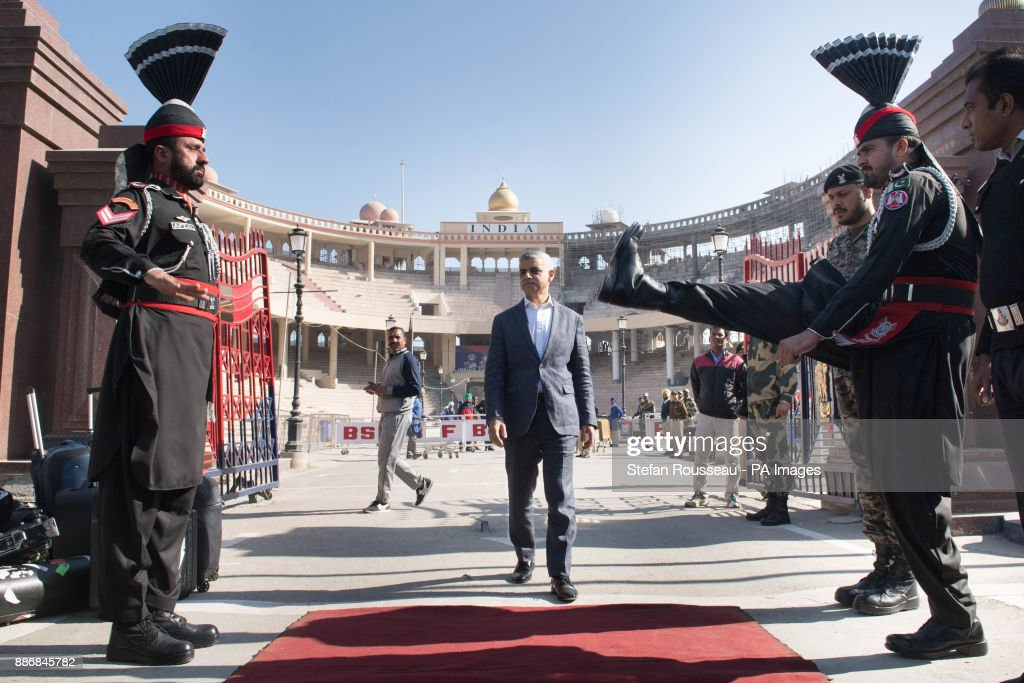 Mayor for London Sadiq Khan crosses at the Wagah border crossing from India into Pakistan
