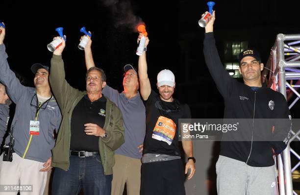 Mayor Francis Suarez Frankie Ruiz Sally Heyman Prince Royce Dan Gelber and Pepe Diaz attend the Fitbit Miami Marathon on January 28 2018 in Miami...