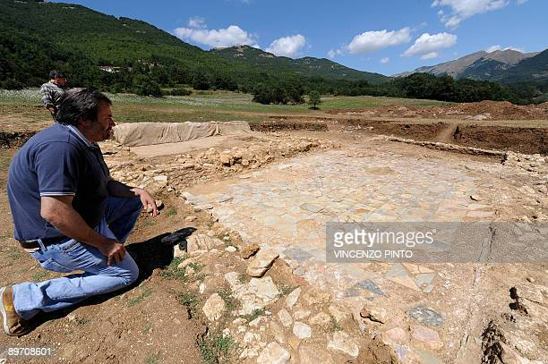 Mayor Gian Luigi Feliciangeli works on the site of the house of Roman Emperor Vespasian in the village of Cittareale some 70 kms from Rome The...