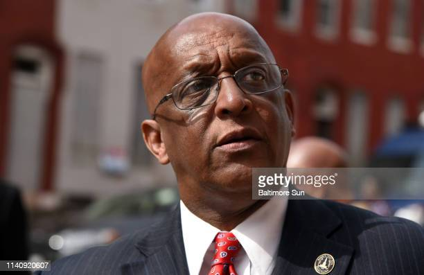 Mayor Jack Young attends the RFP award announcement for the Harlem and Edmondson redevelopment on April 30 2019 in Baltimore Md Young assumed the...
