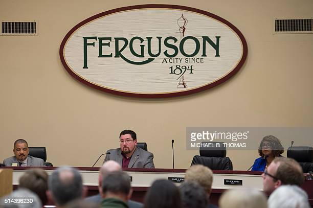 Mayor James Knowles III and members of the Ferguson City Council listen to concerns of citizens during a City Council meeting in Ferguson Missouri on...