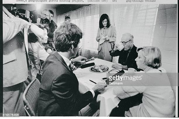 Mayor Jane Byrne and her husband Jay McMullen munch and talk their way through breakfast in their CabriniGreen apartment as reporters write snap and...