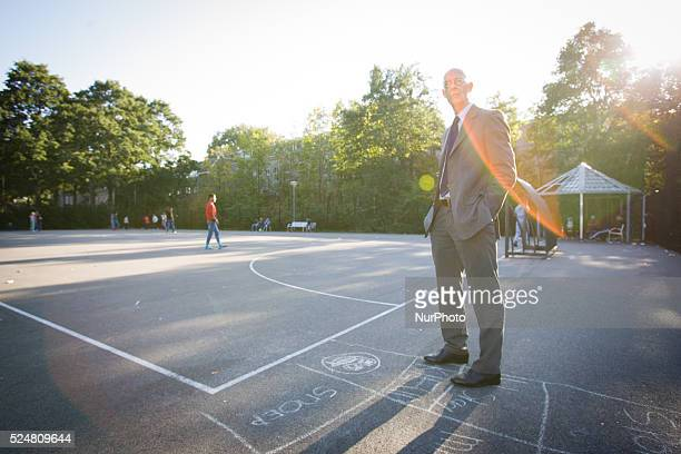 VOORSCHOTEN Mayor Jeroen Staatsen is seen watching refugees play football On Friday night three buses with around 125 refugees arrived from the...