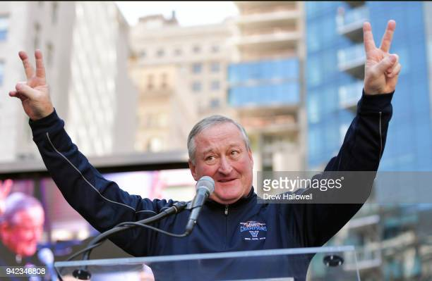 Mayor Jim Kenney acknowledges the crowd during the Villanova men's basketball Championship Parade on April 5 2018 in Philadelphia Pennsylvania