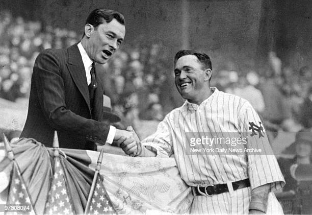 Mayor Jimmy Walker extends an official welcome to New York Giants' captain Rogers Hornsby at the Polo Grounds