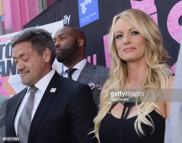 Mayor John J Duran and Stormy Daniels attend a City Proclamation and Key to The City of West Hollywood at Chi Chi LaRue's on May 23 2018 in West...