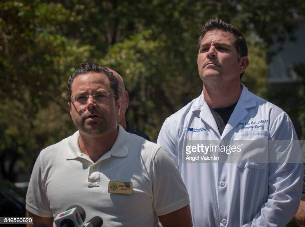 Mayor John Levy addresses the media outside a rehabilitation center in the city where six patients were found dead September 13 2017 in Hollywood...