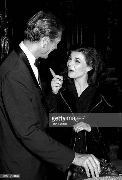 Mayor John Lindsay and actress Anne Bancroft attends the performance of 'Little Foxes' on October 25 1967 at the Vivian Beaumont Theater in New York...