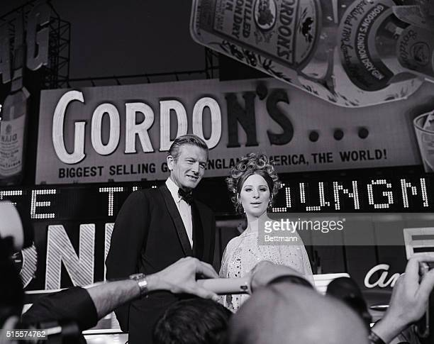 Mayor John Lindsay greets Barbra Streisand at the New York premiere of her first movie Funny Girl