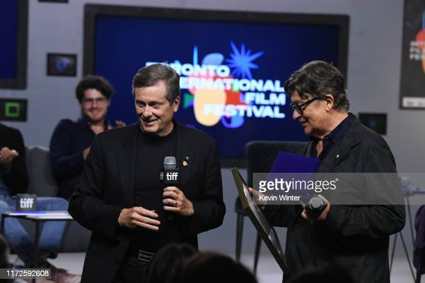 """Mayor John Tory and Robbie Robertson attend the """"Once Were Brothers: Robbie Robertson and the Band"""" press conference during the 2019 Toronto..."""