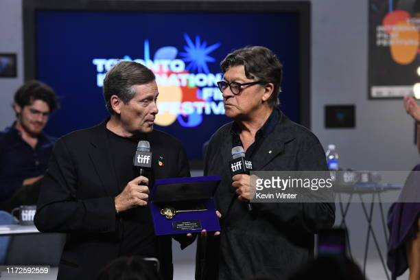 """Mayor John Tory and Robbie Robertson attends the """"Once Were Brothers: Robbie Robertson and the Band"""" press conference during the 2019 Toronto..."""