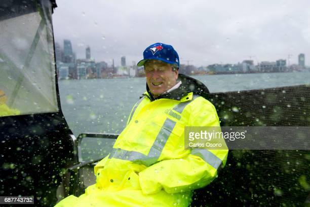 TORONTO ON MAY 5 Mayor John Tory was splashed with water as he rode in a boat towards Centre Island to see the water levels and flood prevention...