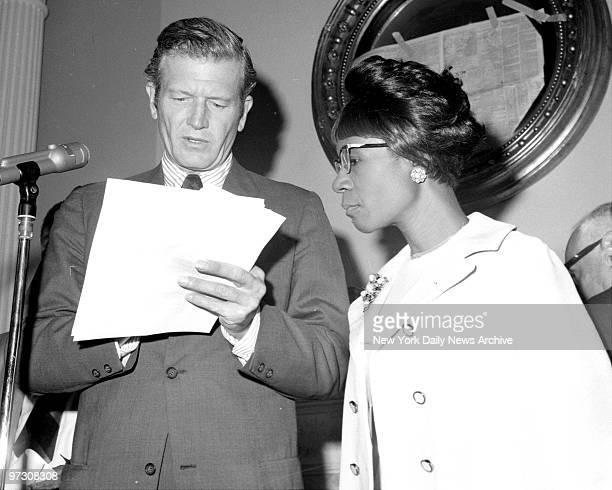 Mayor John V Lindsay at Gracie Mansion with Shirley Chisholm for press conference