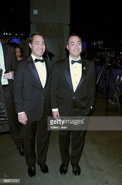 Mayor Julian Castro and US Rep Joaquin Castro attend the Inaugural Ball at the Walter E Washington Convention Center on January 21 2013 in Washington...