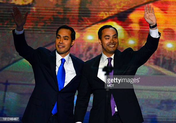 Mayor Julian Castro of San Antonio Texas left waves with his brother Joaquin who introduced him at the 2012 Democratic National Convention at the...