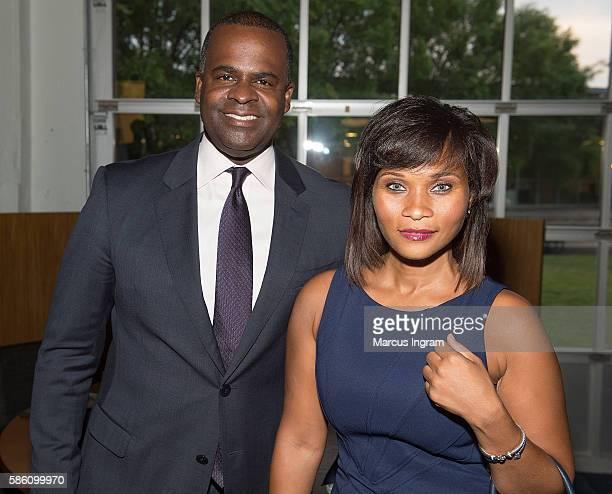 Mayor Kasim Reed and Judge Terrinee L Gundy attend the movie Fast8 panel discussion at The Gathering Spot on August 4 2016 in Atlanta Georgia
