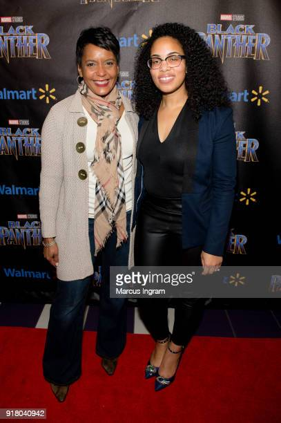 Mayor Keisha Lance Bottoms and Regina Moore attend the Marvel Studios Black Panther advance screening at Regal Hollywood on February 13 2018 in...