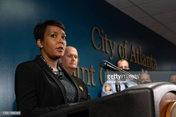 Mayor Keisha Lance Bottoms speaks at a press conference on March 17, 2021 in Atlanta, Georgia. Suspect Robert Aaron Long was arrested after a series...