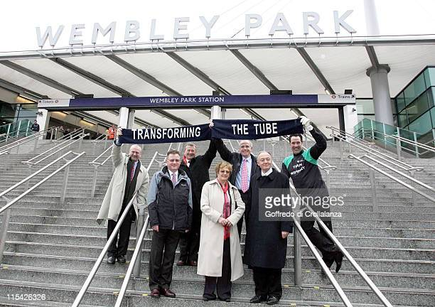 Mayor Ken Livingstone David Seaman and guests during the press launch and photocall March 27 of the reopening of the new Wembley Park Tube station