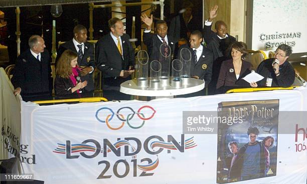 Mayor Ken Livingstone Emma Watson Sir Steve Redgrave and the gold medal winning 4x100m Olympic team and Harriet Scott and Jono Coleman