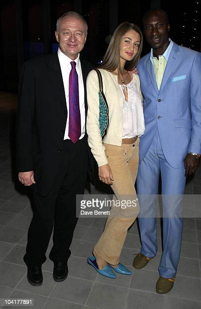Mayor Ken Livingstone With Oswald Boetang And His Wife 'Minority Report' Premiere Party Was Held At The Brand New City Hall London