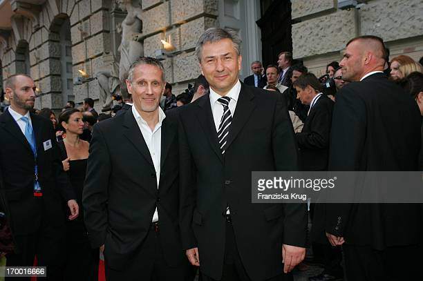 Mayor Klaus Wowereit and friend Jörn Kubicki at The Premiere Of 3 Musketeers at Theater des Westens in Berlin