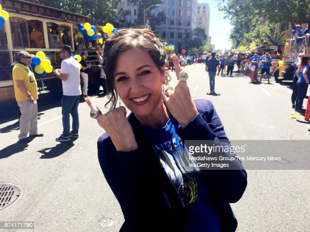 Mayor Libby Schaaf sporting two Championship rings at the Golden State Warriors championship parade on Tuesday June 12 2018