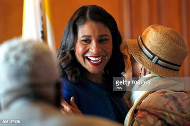 Mayor London Breed greets members of the public in the receiving line after her inauguration at City Hall July 11 2018 in San Francisco California